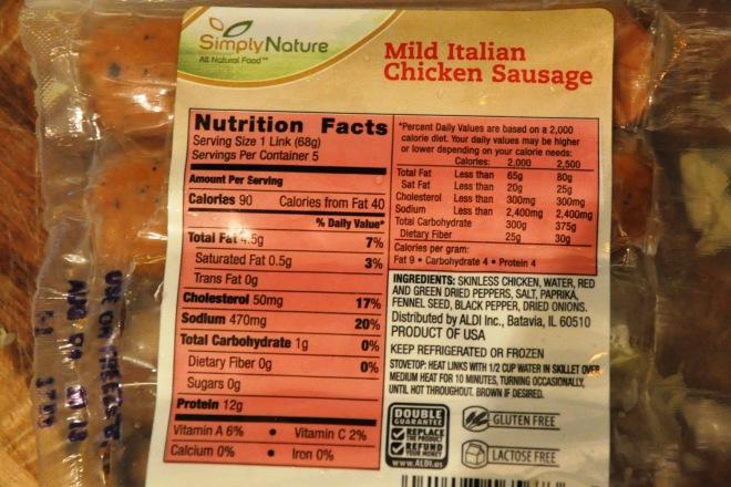Simply Nature Chicken Sausage Ingredients