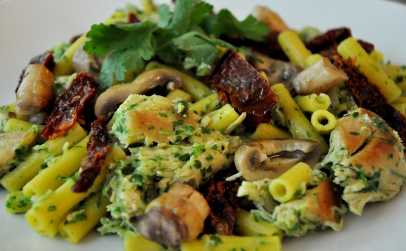 Easy Allergen-Free Weeknight Dinner Series: Chicken and Gluten-Free Pasta with Parsley Pesto and Sun-DriedTomatoes