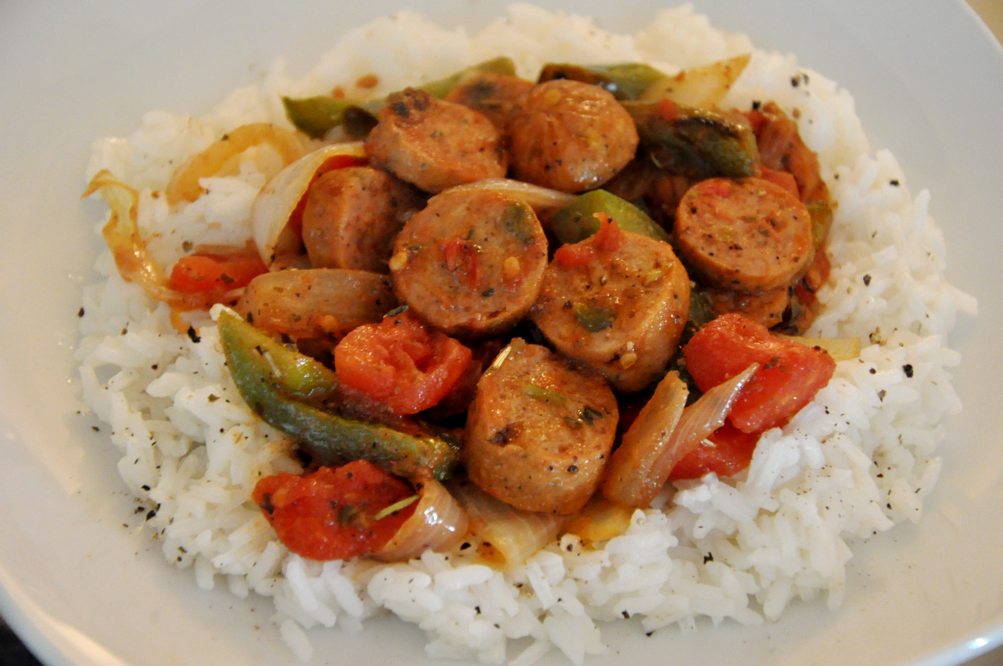 sausage and peppers with rice