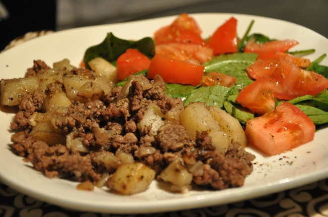 Hamburger Potato and Simple Salad