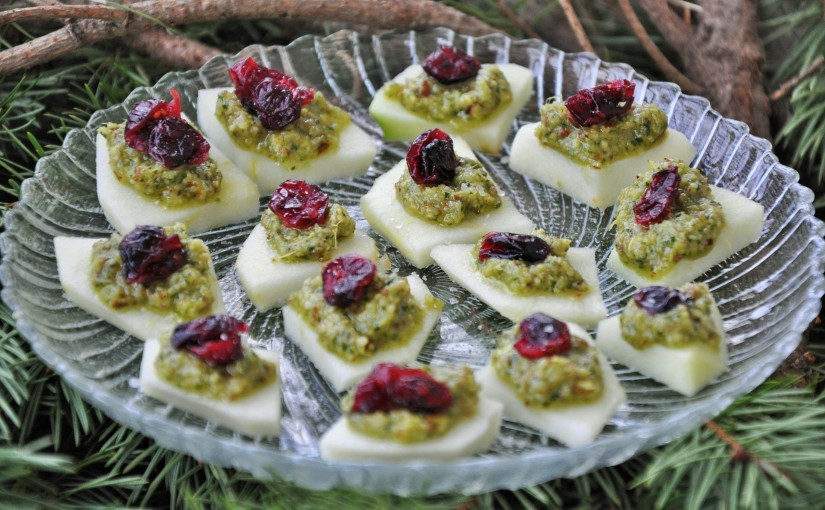 Apples with Ginger-Cilantro Pesto, Dried Cranberries, and SeaSalt